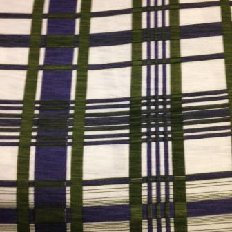 Purple and Green Plaid Organic Cotton Jersey