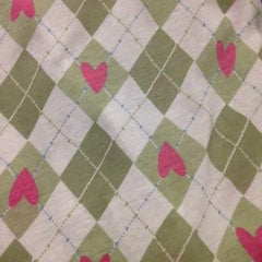 Pink Hearts on Green Harlquin Cotton Jersey