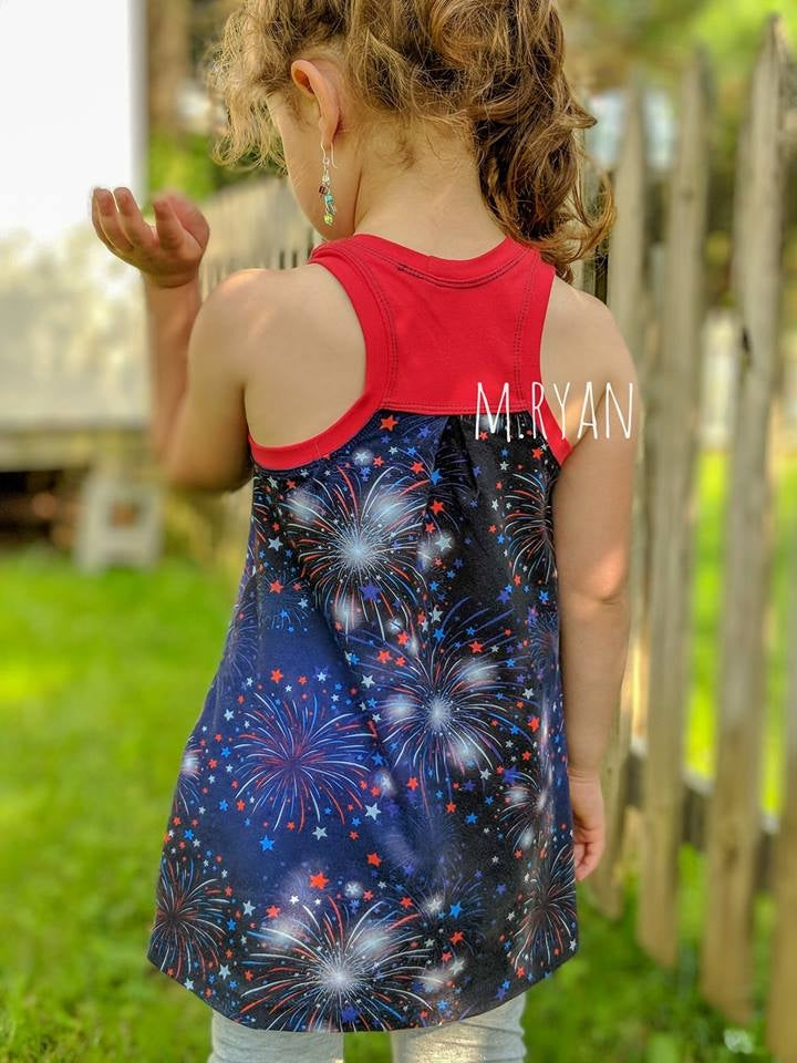 Fireworks on Navy Organic Cotton/Spandex Jersey