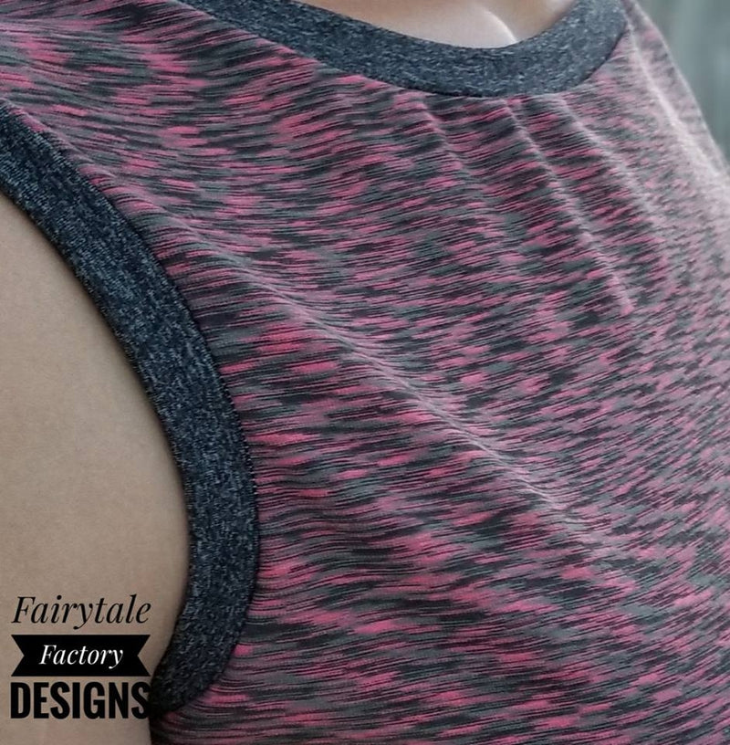 PInk and Gray Space Dye on Poly/Spandex Jersey