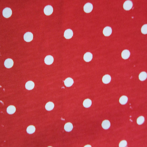 White Dots on Red Cotton Jersey Seconds
