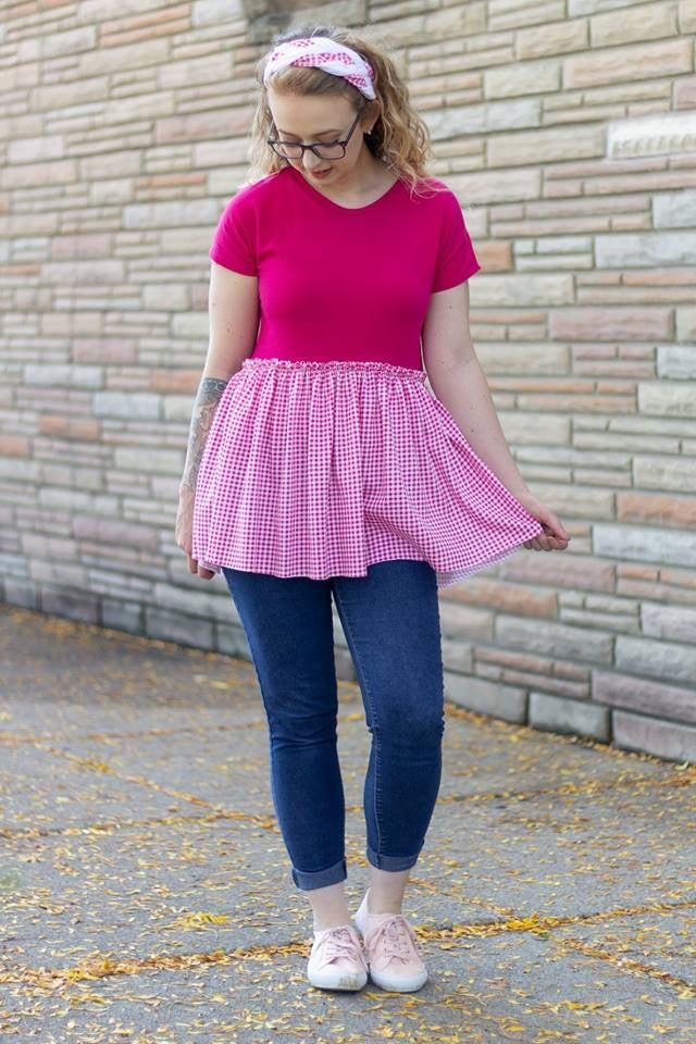 Hot Pink Gingham on Cotton Jersey