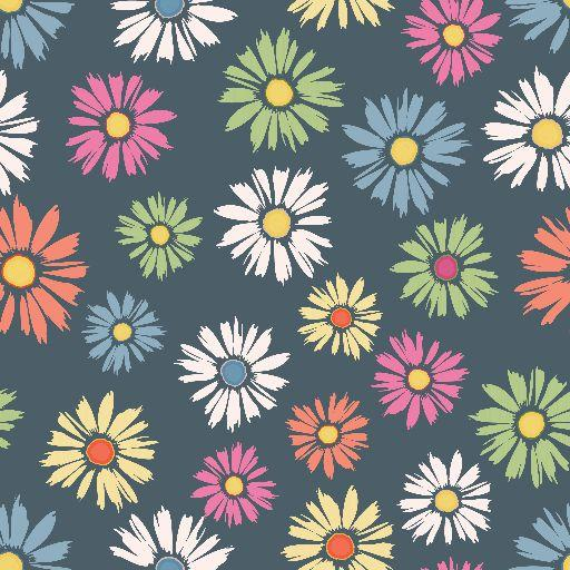 Daisies on Gray Bamboo/Spandex Jersey - Nature's Fabrics