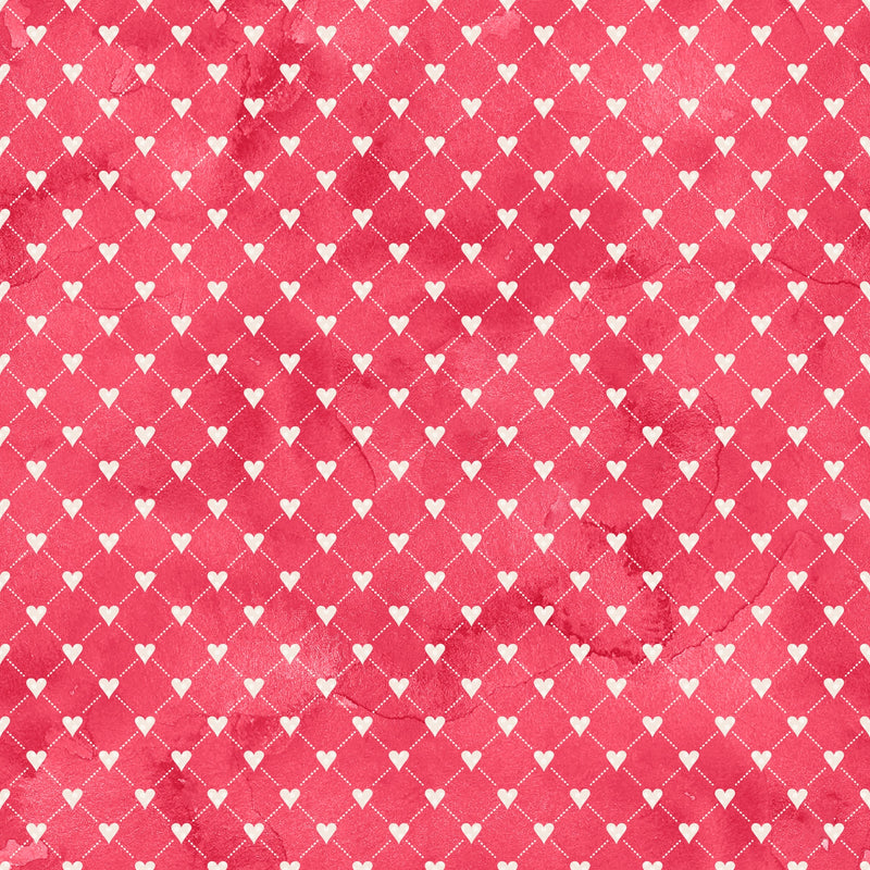 White Hearts on Red Bamboo/Spandex Jersey
