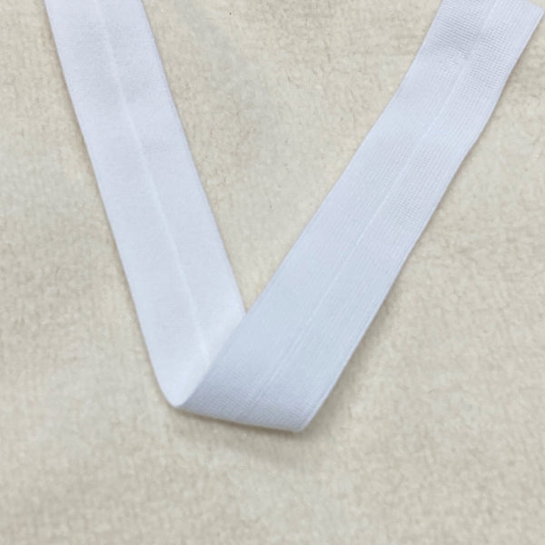 "1"" Plush Poly Fold Over Elastic-White"
