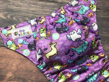 Zombie Zoo on Purple 1 mil PUL - Made in the USA