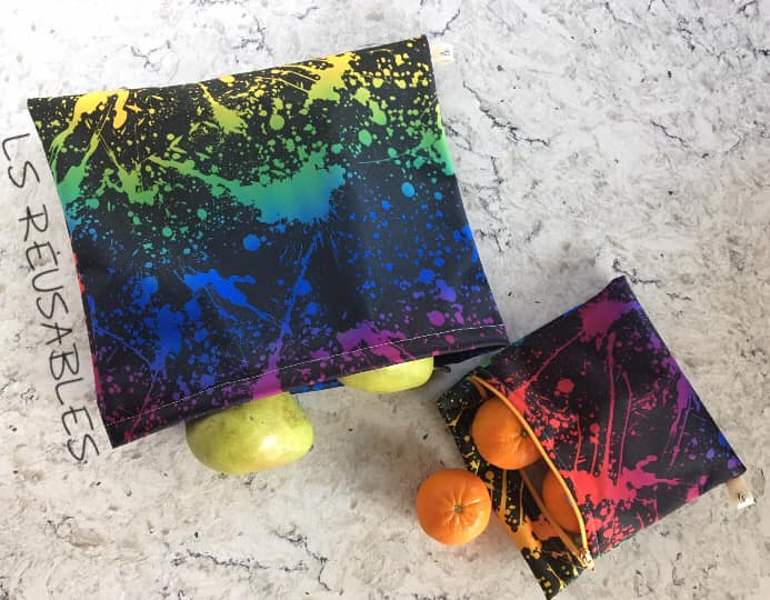 Rainbow Splatter on Black 1 mil PUL - Made in the USA
