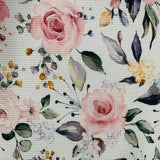 Pink Roses on White Bullet Knit - Nature's Fabrics