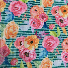 Pink and Orange Flowers on Greeen Stripes Bullet Knit