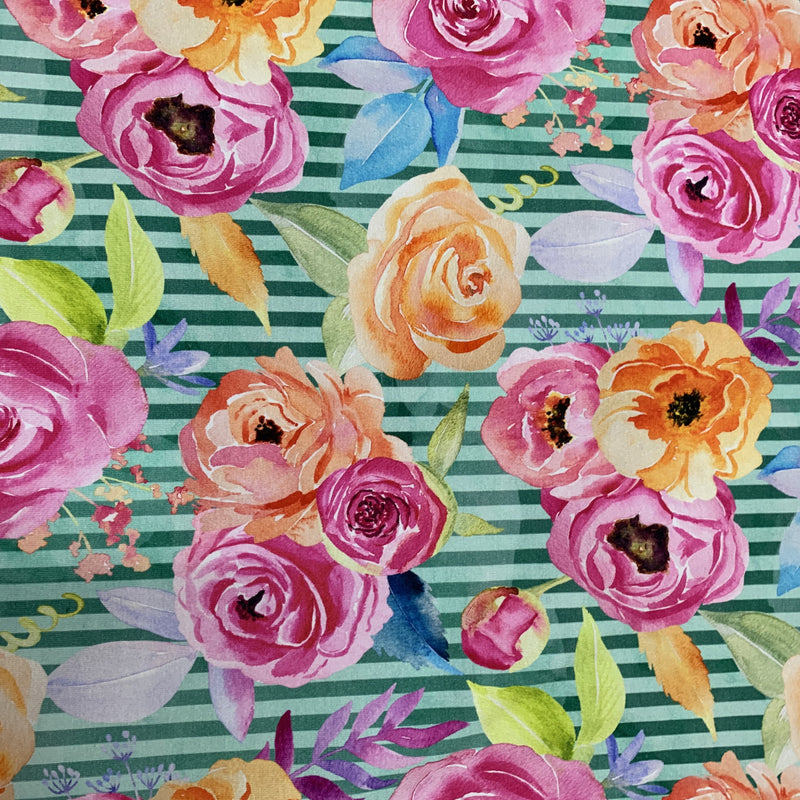 Pink and Orange Flowers on Green Stripes Bamboo/Spandex Jersey