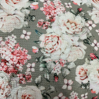 Pink Roses on Gray Bullet Knit - Nature's Fabrics