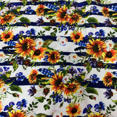 Sunflower Stripe on White Organic Cotton/Spandex Jersey - Nature's Fabrics
