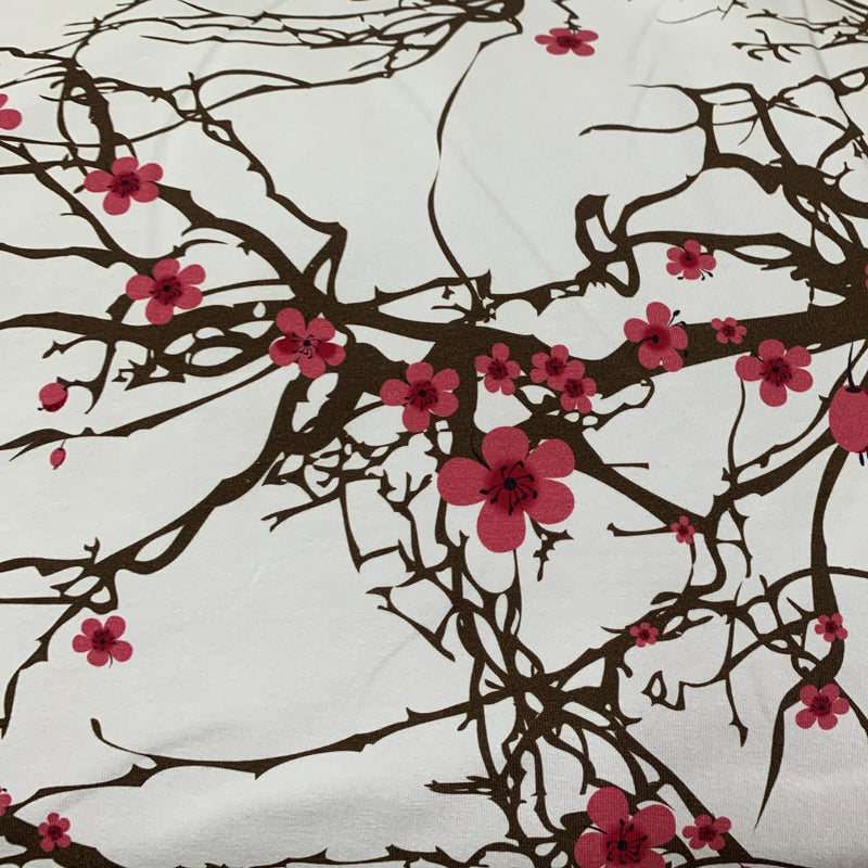 Cherry Blossoms on Bamboo/Spandex Jersey