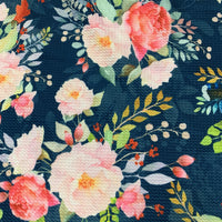 Pink Roses on Navy Bullet Knit - Nature's Fabrics