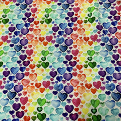 Watercolor Hearts on Bamboo/Spandex Jersey