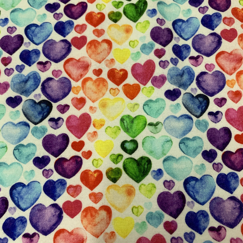 Watercolor Hearts on Bamboo/Spandex Jersey - Nature's Fabrics