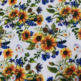 Sunflowers on White Bullet Knit - Nature's Fabrics