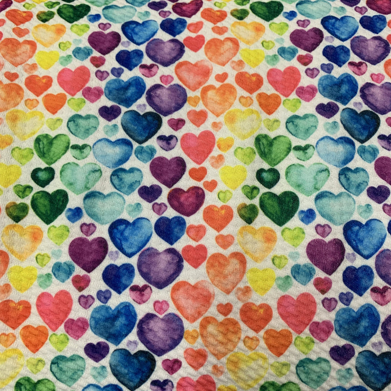 Watercolor Hearts on Bullet Knit