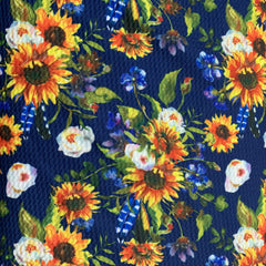 Sunflowers on Navy Bullet Knit