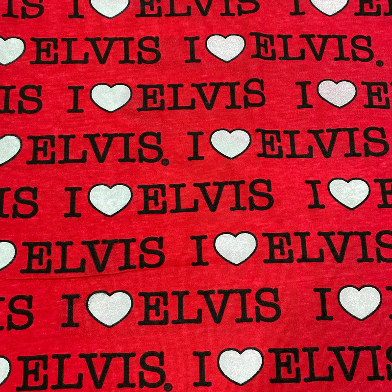 I love Elvis on Red Cotton Jersey