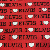 I love Elvis on Red Cotton Jersey - Nature's Fabrics