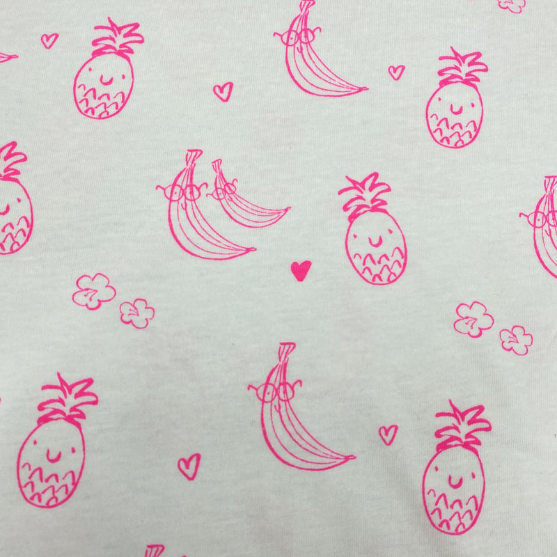 Hot Pink Tropical Fruit on Organic Cotton Jersey
