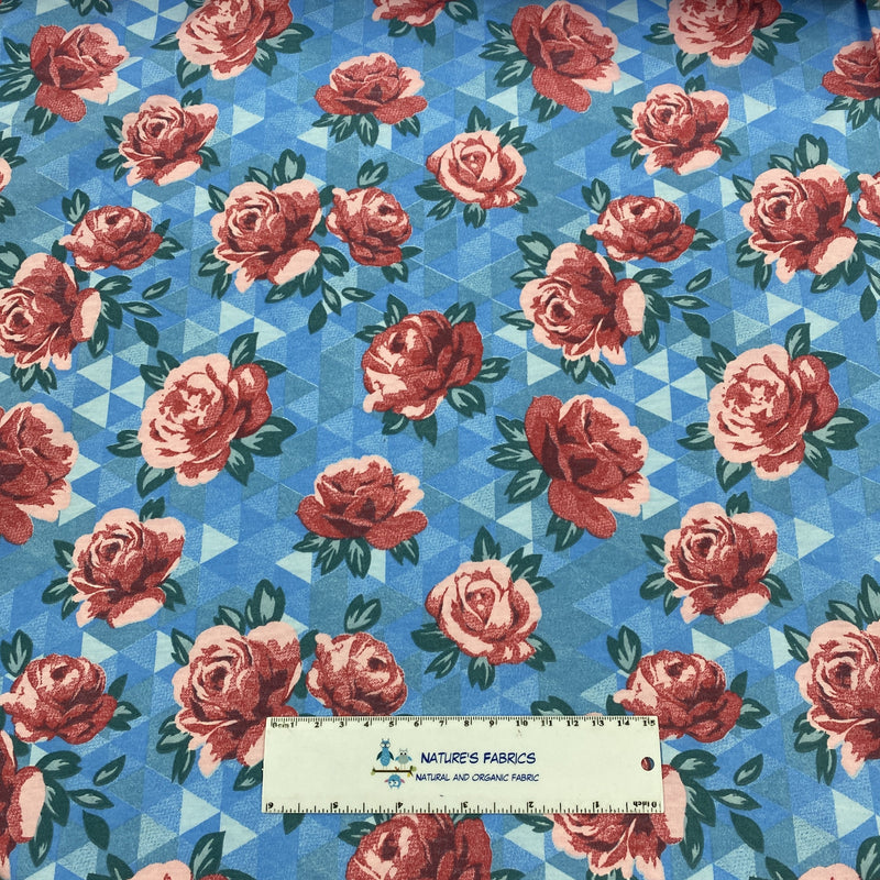 Roses on Blue Organic Cotton Jersey
