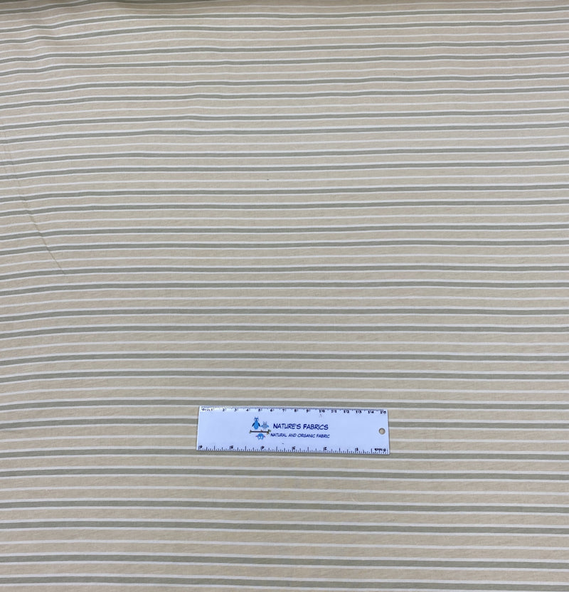 Green and Natural Stripes on Organic Cotton Jersey - Nature's Fabrics