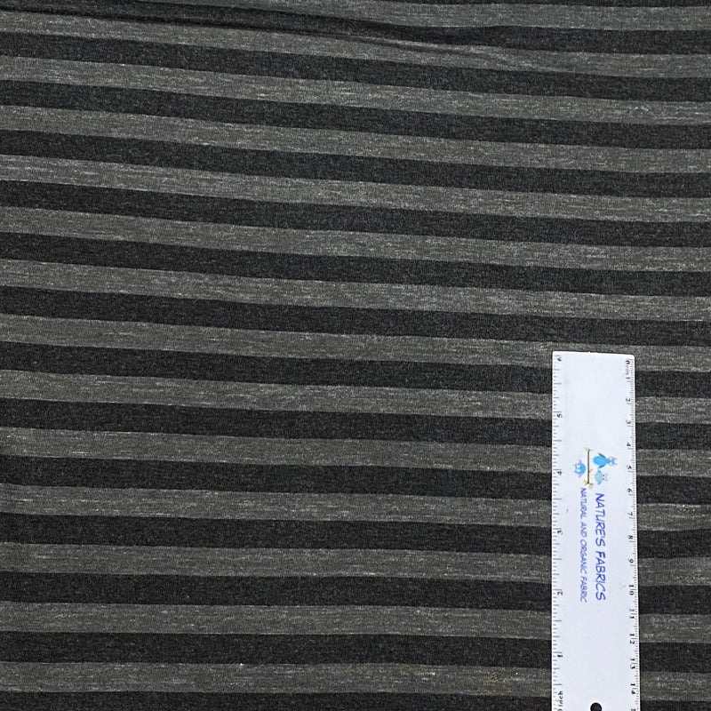 Black and Gray Stripes on Bamboo Jersey