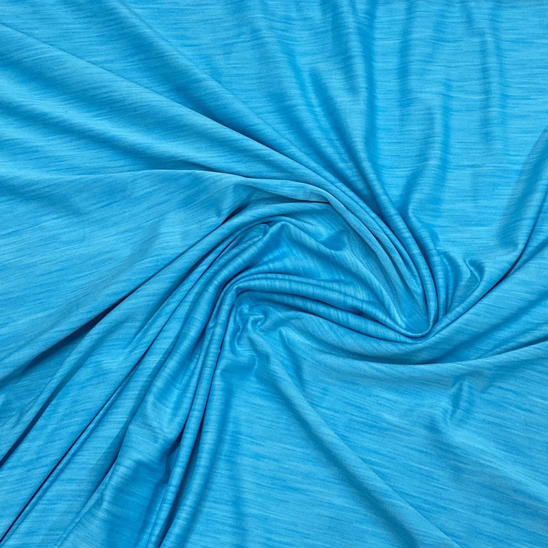 Sky Blue Space Dye on Poly/Spandex Jersey - Nature's Fabrics