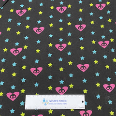 Hearts and Stars on Black Cotton Thermal - Nature's Fabrics