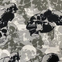 Gray and Black Skull Camouflage on Cotton/Spandex Jersey - Nature's Fabrics