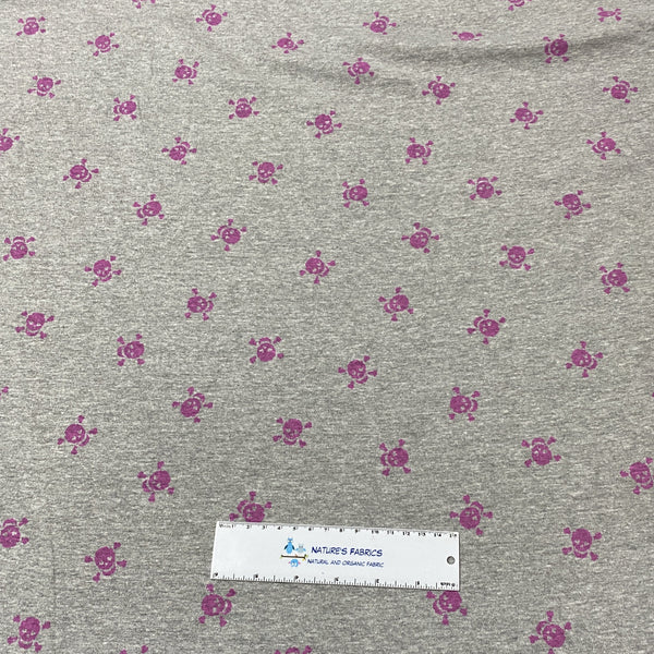 Pink Distressed Skulls on Gray Cotton Interlock - Nature's Fabrics