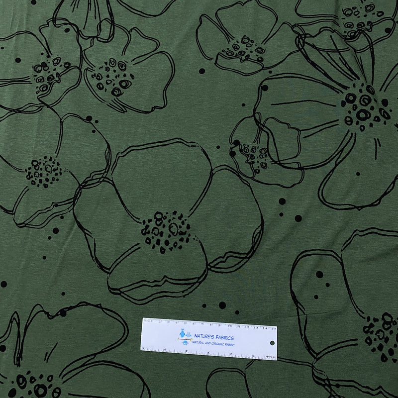 Large Flowers on Dark Green Bamboo/Spandex Jersey