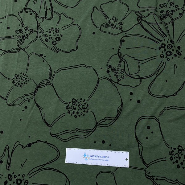 Large Flowers on Dark Green Bamboo/Spandex Jersey - Nature's Fabrics