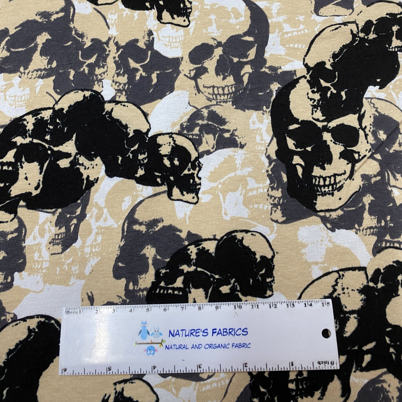 Tan and Black Skull Camouflage on Cotton/Spandex Jersey