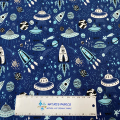 Out Of This World on Blue Bullet Knit - Nature's Fabrics