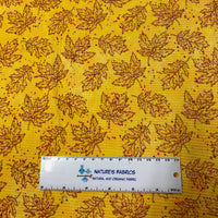 Maple and Oak Leaves on Gold Bullet Knit - Nature's Fabrics