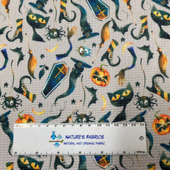 Witch's Fun on Gray Organic Cotton/Spandex Jersey - Nature's Fabrics
