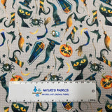 Witch's Fun on Gray Bullet Knit - Nature's Fabrics