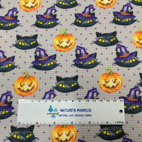 Halloween Cats on Gray Bamboo/Spandex Jersey - Nature's Fabrics