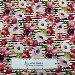 Pink and Red Flowers on Black Stripes Bamboo/Spandex Jersey - Nature's Fabrics