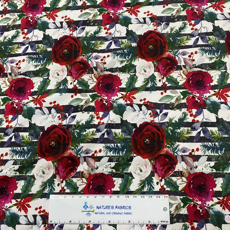 Winter Roses on Striped Bamboo/Spandex Jersey