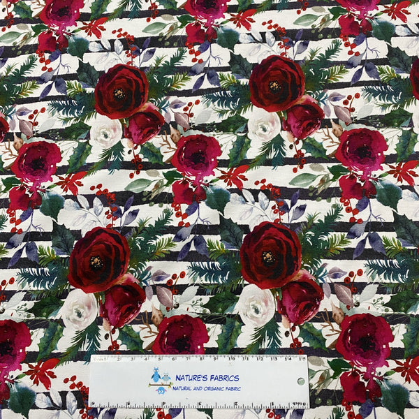 Winter Roses on Striped Bamboo/Spandex Jersey - Nature's Fabrics