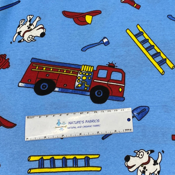Firetrucks on Blue Cotton Interlock