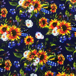 Sunflowers on Navy Bamboo/Spandex Jersey