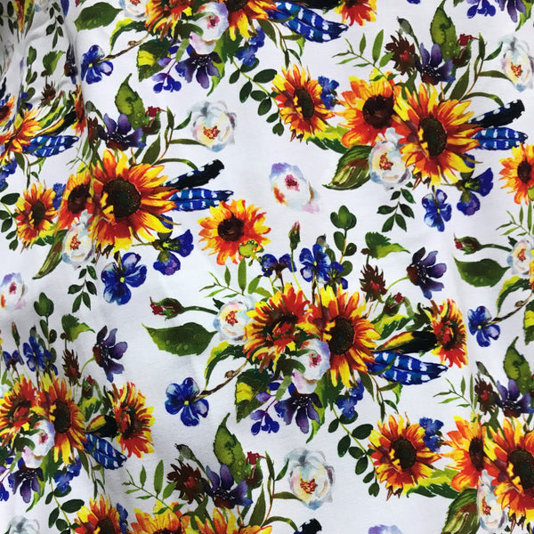 Sunflowers on White Bamboo/Spandex Jersey