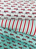 Red Wagons on Turquoise Organic Cotton/Spandex Jersey