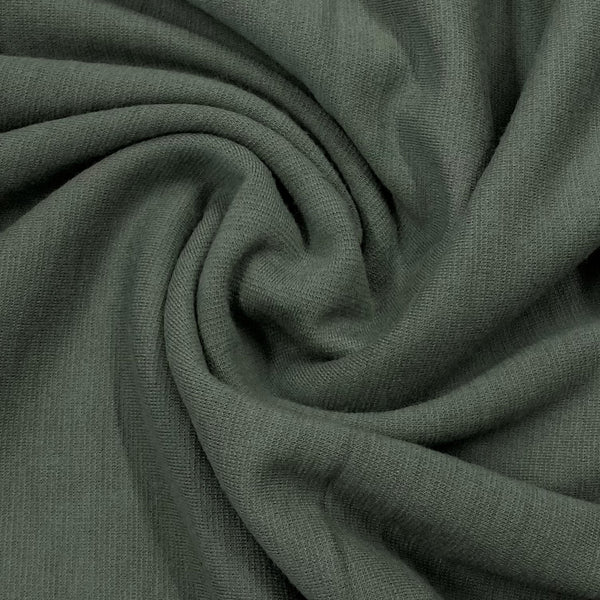Olive Gray Heavy Merino Wool Blend Interlock