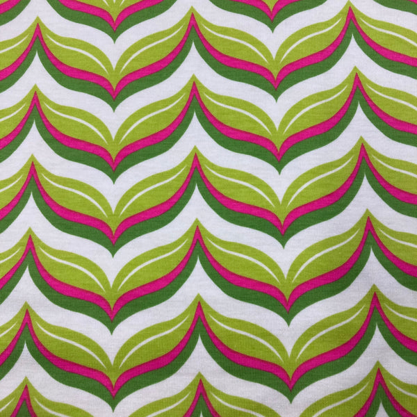 Acorn Valley Leafy Chevron Citron on Cotton/Spandex Jersey
